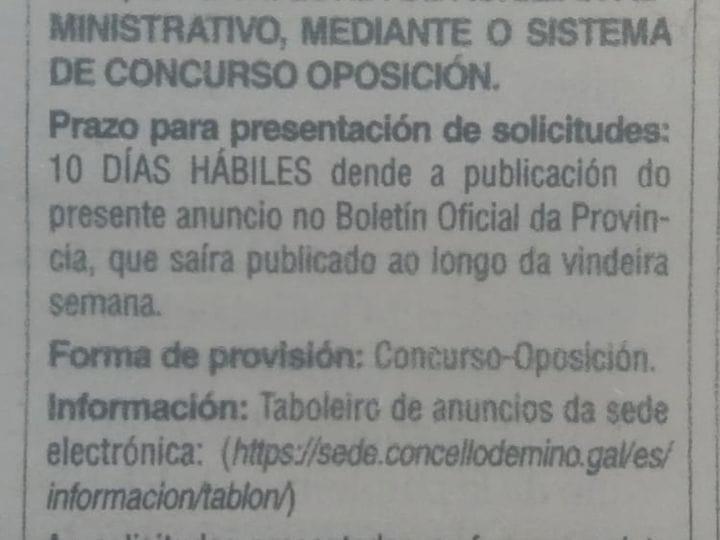 CONVOCATORIA PARA A CREACIÓN DUNHA BOLSA DE EMPREGO DE AUXILIARES ADMINISTRATIVOS